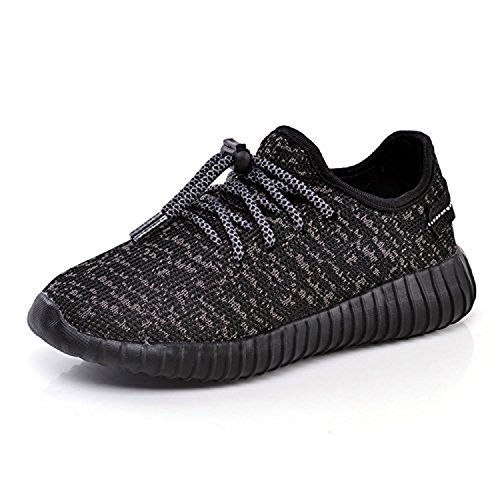 New Girl Boy Casual Sneakers Breathable Athletic Running Sports Shoes (Toddler/Little Kid/Big Kid) (34/2 M US Big Kid, Black-1) by AIGOROSE