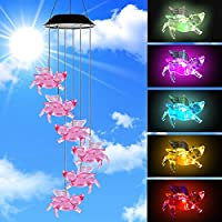 AceList Color-Changing Pigs Fly Solar Mobile Wind Chime Moblie LED Light, Spiral Spinner Windchime Portable Outdoor Chime Patio Deck Yard Garden Home.
