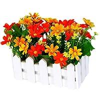 George Jimmy Artificial Flowers Arrangement Room Components Wood Fence Floral Decoration-C01