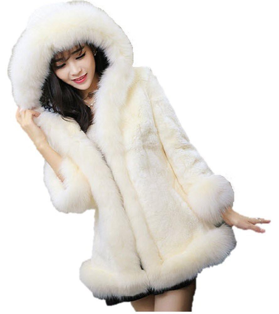 【SEBLES】レディース アウトウェア コート フード付き フェイクファー 毛皮 スウィート B01L5P8R6W M ホワイト ホワイト M