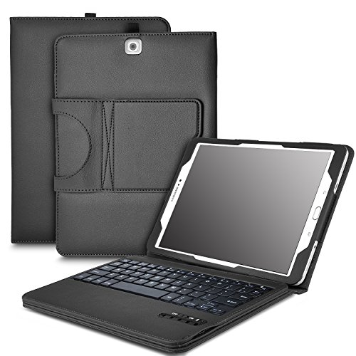 IVSO Samsung Galaxy Tab S2 9.7 Keyboard case - Ultra-Thin DETACHABLE Bluetooth Keyboard Stand Case / Cover for Samsung Galaxy Tab S2 9.7 Tablet -With Free Stylus Pen (Black)