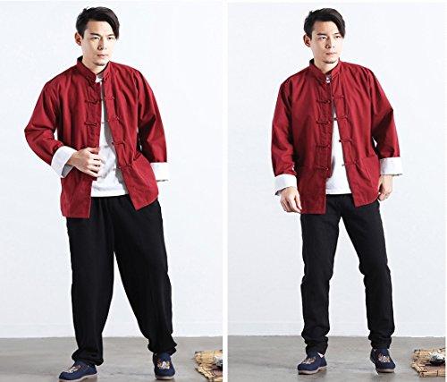 cinese in Lino Uomo Riccio Suit lungo maniche lunghe giacca Kung moichien a Tang Mens Cappotto cotone Tai Classico Borgogna Chi Fu Top Camicia Ai Stile BwHFfqn6
