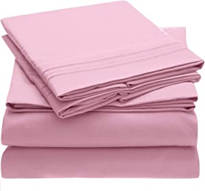 Mellanni Bed Sheet Set - Brushed Microfiber 1800 Bedding - Wrinkle, Fade, Stain Resistant - 4 Piece (Queen, Pink)