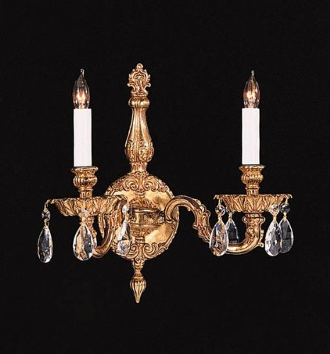 Crystorama 2502-OB-CL-MWP Crystal Accents Two Light Wall Sconce from Cortland collection in Brassfinish, 6.50 inches - Cortland Collection