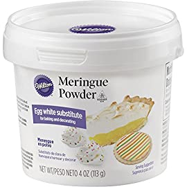 Wilton Meringue Powder Egg White Substitute, 4 oz. 1 Great for making meringues, royal icing and anything else that calls for egg whites Color: White 4 oz. (113 g)