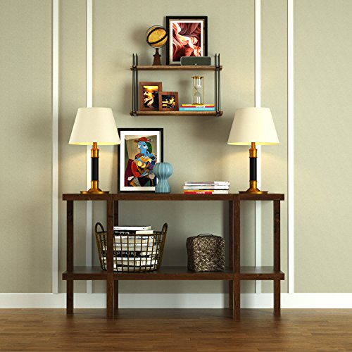 SRIWATANA Rustic Floating Shelves, 2 Tier Wood Wall Shelves With Superior Bearing Capacity For