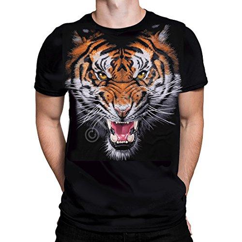 Liquid Blue - TIGER FACE - für Männer Schwarz T-Shirt