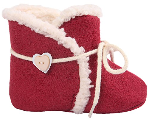 Infant Baby Girls Premium Soft Sole Moccasins Tassels Anti-Slip Bow Cute Boots (Toddler/Little kid)Red L - Cheap Moccasin Boots