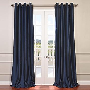 Half Price Drapes PTCH-BO194010-96-GR Grommet Blackout Faux Silk Taffeta Curtain, Navy Blue