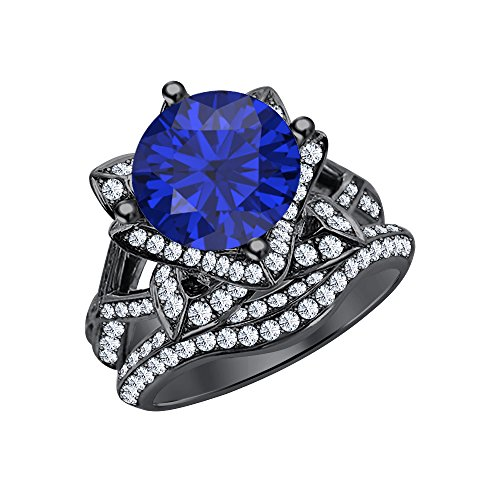 tusakha Beautiful 3.0 ct Blue Sapphire & White Round Cut Simulated Diamond Lotus Flower Engagement Ring Bridal Set 14k Black Gold Plated for Women's
