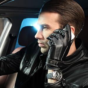 Warmen Men's Touch Screen Nappa Leather Winter Gloves Iphone Ipad Smart Phone (XL, Black)