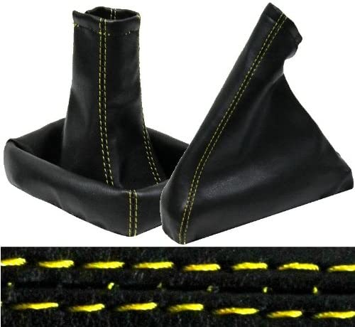 Aerzetix Pair of gaiter gear lever and handbrake .Color black with yellow stitching.