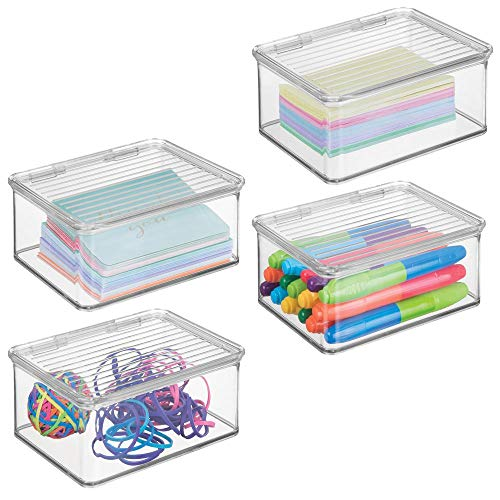 (mDesign Small Mini Plastic Stackable Home, Office Supplies Storage Organizer Box with Attached Hinged Lid - Holder Bin for Note Pads, Gel Pens, Staples, Dry Erase Markers, Tape - 4 Pack - Clear)