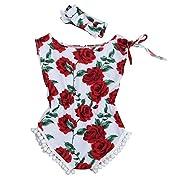 Baby Clothes, Bestpriceam Newborn Toddler Printing Bodysuit Romper Jumpsuit (6-12M, Rose Red)