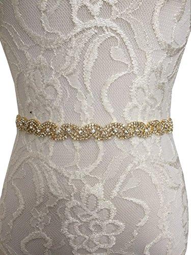 Rhinestones and crystals wedding dress sash bridesmaid dress sashes P03 (Gold) (Gold Dress Belt)