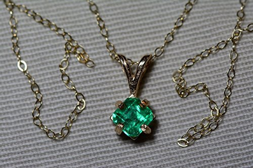 - 14K Yellow Gold Colombian Emerald Pendant 0.63 Carat, May Birthstone, Certified