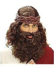 Widmann J6262 – peruk profet med skägg, brun, syntetiskt hår, temafest, karneval