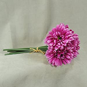 Mini Imitation Silk Hot Pink Daisy Bouquets- for Weddings, Parties, and Decor- 3 Bouquets with 6 Blooms Each a Total of 18 Blooms 106