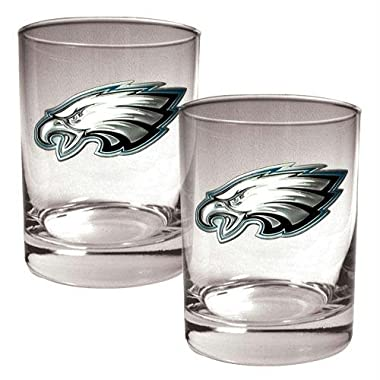 NFL Philadelphia Eagles Two Piece Rocks Glass Set - Primary Logo