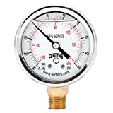 Winters PFQ Series Stainless Steel 304 Dual Scale Liquid Filled Pressure Gauge with Brass Internals, 30'' Hg Vacuum-0-30 psi/kpa,2-1/2'' Dial Display, +/-1.5% Accuracy, 1/4'' NPT Bottom Mount