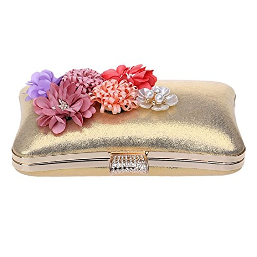 Crossbody Clutch Small Cute Women's Red Flower Bag Purse KERVINFENDRIYUN Gold Handbags Evening Shoulder Color Bag Handmade Mini w4zzCq7Yx