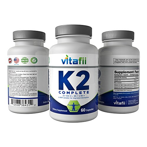 Vitafii Vitamin K2 (MK4 and MK7) With D3 Maximum Absorption Vitamin D And K Supplement Promotes Strong Bones And Heart Health Includes MCT Powder