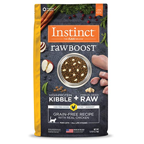 Instinct Raw Boost Grain Free Recipe with Real Chicken Natural Dry Cat Food by Nature's Variety, 5 lb. Bag (Raw Food Diet For Cats With Urinary Problems)