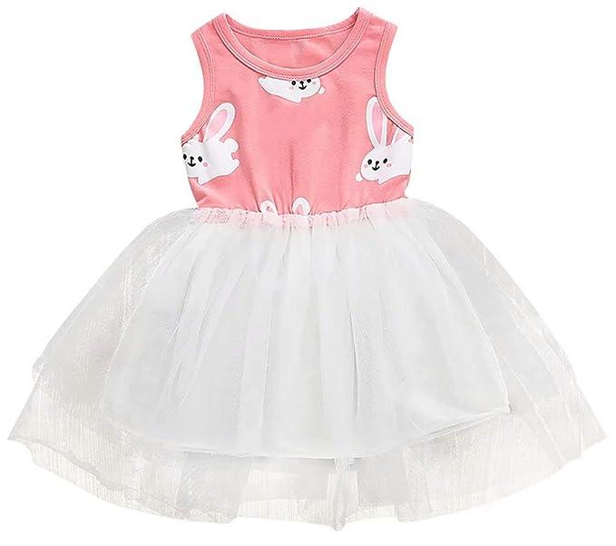 11e615d01e6f EGELEXY Baby Girls Easter Dress Bunny Sleeveless Tutu Dress Princess Skirt  Party Sundress Mini Dress Size