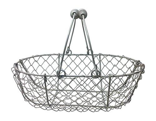 Wire Egg Basket, Chicken Gathering Basket, Vintage White