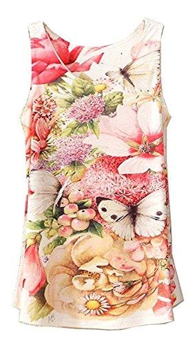GuPoBoU168 New Summer Flower Butterfly Sleeveless Ball Gown T-Shirt for Women - Knit Butterfly Gown