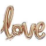 """DekoRex® """"love"""" Folienballon Luftballons Schriftzug ca. 100cm rosegold"""