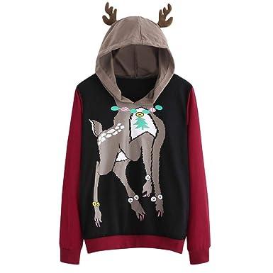 018c11db4002 Kimloog Womens Ugly Christmas Deer Hoodie Sweatshirt Long Sleeve ...