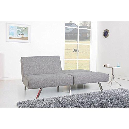 Weston Grey Folding Sofa Bed Futon, Twin Size with Split Seat Back