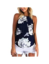 Susenstone Summer Flower Print O-Neck Sleeveless Shirt Blouse Camisole Tops