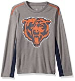 NFL Youth Boys Mainframe Long Sleeve Performance Tee-Light Charcoal-L(14-16), Chicago Bears