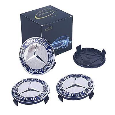 Autowoor Dark Blue Wheel Center Hub Caps Mercedes Benz,75mm/3 Inch Hub Cap Cover Car Fit for Mercedes Benz All Models with (4 pcs): Automotive