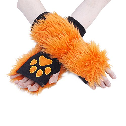 Pawstar Furry Paw Warmers Arm Hand Cover Fingerless Gloves - Orange]()