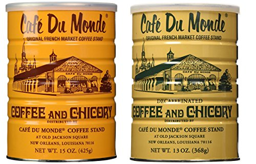 Cafe Du Monde Coffee and Chickory and Decaf Blend Bundle. New Orleans Coffee Bundle Includes One 15 ounce Original Coffee And One 13 Ounce Decaffeinated.
