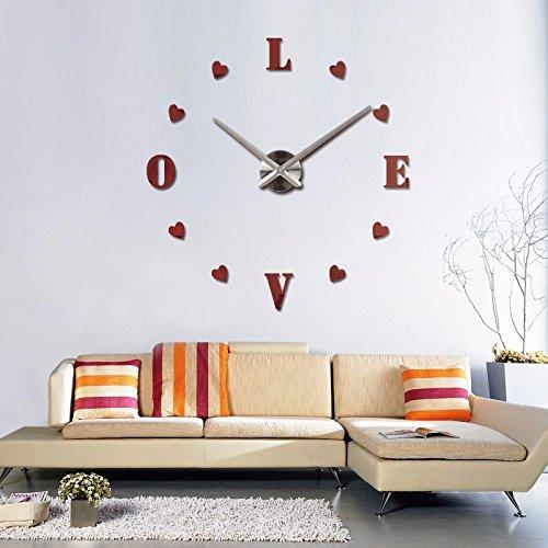 Amazon.com: Treading - new wall clock reloj de pared quartz watch europe horloge home living room 3d acrylic mirror vintage clocks [ Red ]: Home & Kitchen