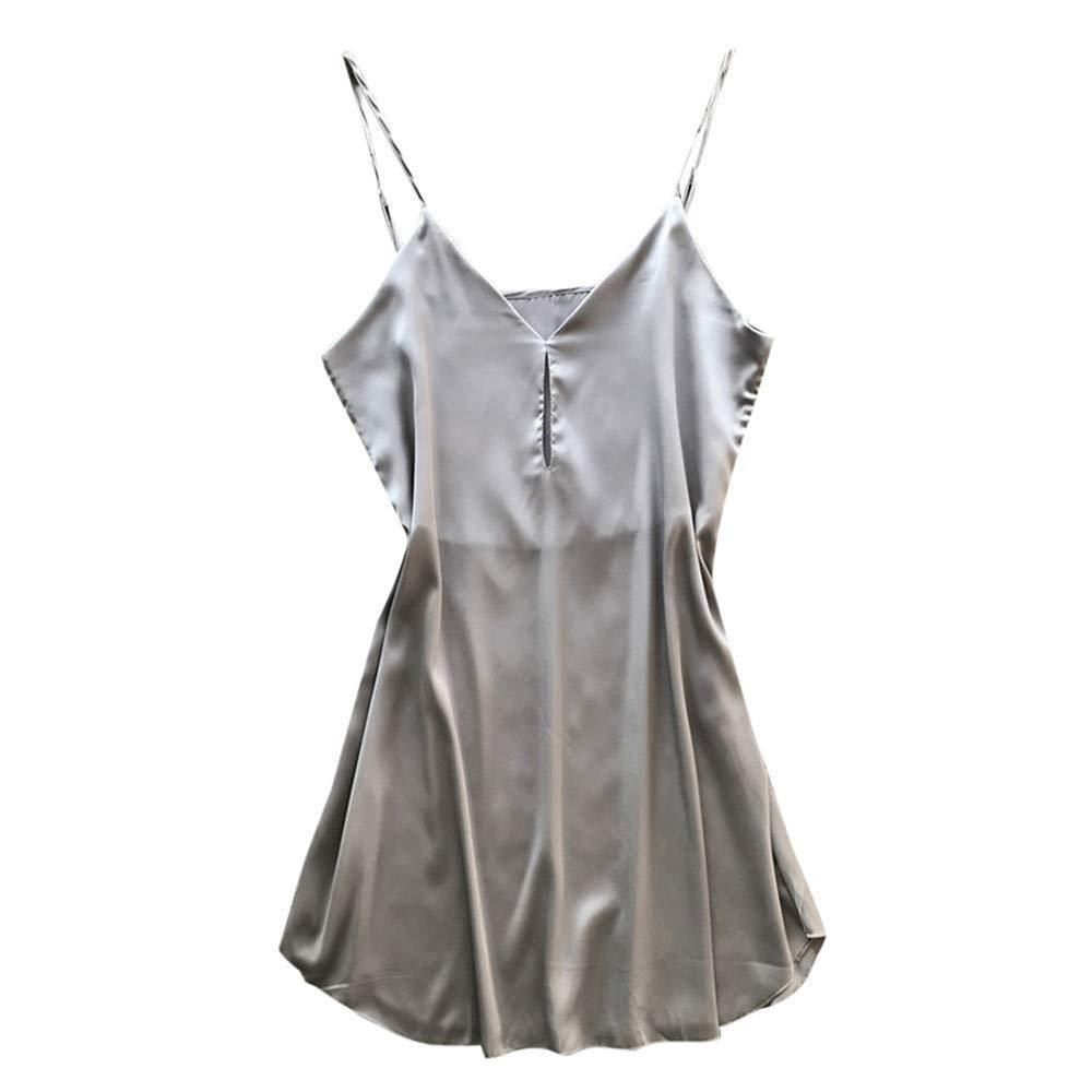 Yaseking Women Sleepwear, Sexy Lace Pajamas Sleeveless Strap Nightwear Lace Loose Pajama Dress Lingerie (S, Gray)