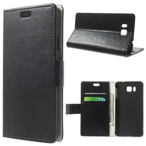 caja del teléfono móvil de la cubierta Caso de Negocio Samsung Galaxy Alpha / SM-G850 - SOPORTE DEL LIBRO tirón de la caja de negro