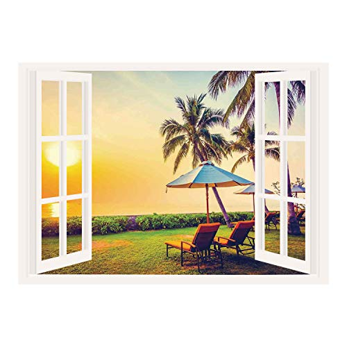 SCOCICI Wall Mural, Window Frame Mural/Seaside,Empty Umbrella and Chairs on The Beach Palm Trees at Twilight Times Vacation Theme,Multicolor/Wall Sticker Mural