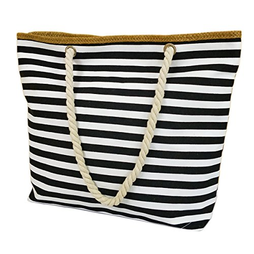 Utop Large Travel Straw Beach Tote Bag Cotton Rope Handles, Waterproof Lining and a special pocket inside (Style 01) ()