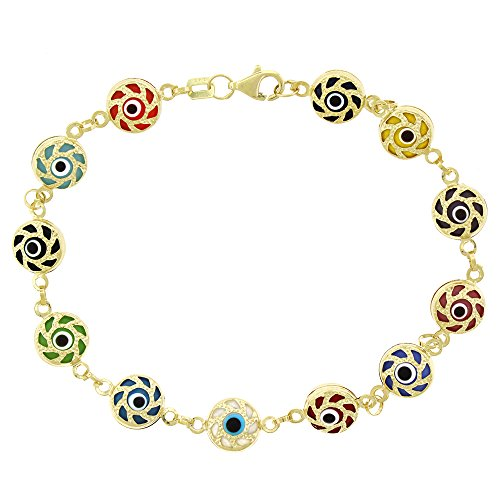 14k Yellow Gold Womens 8mm Clear Red Fancy Evil Eye Good Luck Charm Bracelet Chain 7.5'' by In Style Designz