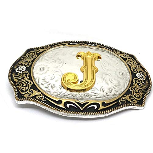 (Metal belt buckle gold letter silver background 13cm width zinc alloy western cowboy belt buckle(J))