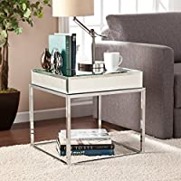 Southern Enterprises Dana Mirrored End Table in Chrome