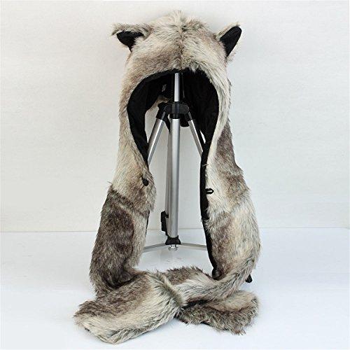 ShellKingdom 3 in 1 Function Brown Wolf Faux Fur Full Animal Hood Hat Winter Warmer Cap New ()