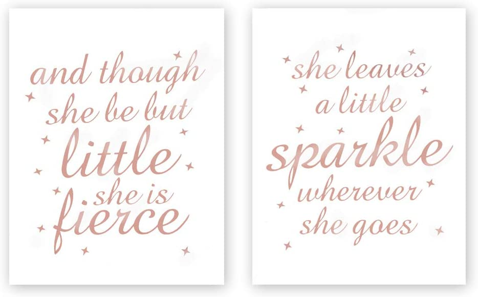 Sanrx And Though She Be But Little She Is Fierce-She Leaves a little Sparkle Wherever She Gose With Stars Rose Gold Foil Print,Inspirational Cardstock Art Print Poster (Set of Two,8x10 inch,UNFRAMED)