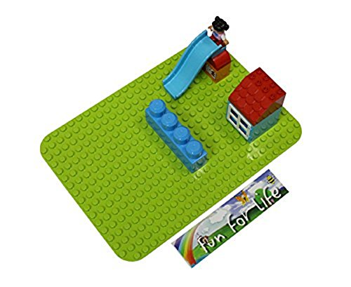 Fun For Life 15'' x 10'' Apple Green Baseplate Compatible with all major Big Dot Building Baseplate, Duplo & Megabloks Compatible Brick Building Base
