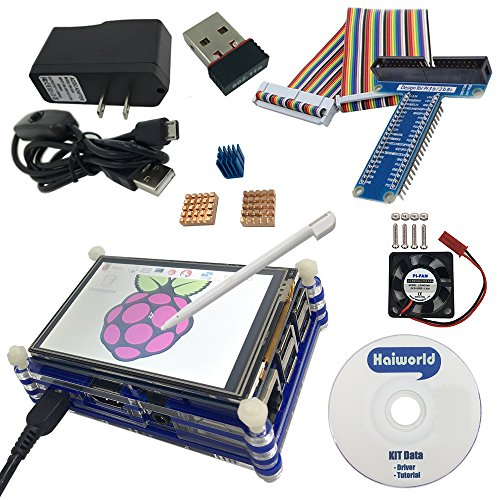 Haiworld Starter Kit For Raspberry Pi 3 b / 2b, 3.5'' TouchScreen + RPI Case + Heat sinks + 5V Power adapter + GPIO Board + Connection Cable + Cooling Fan + 150 Mbps WiFi (8 Items with CD) by Haiworld
